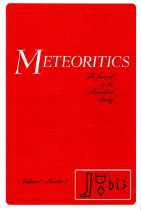 Meteoritics Journal Cover